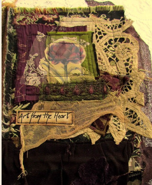 Vintage Fabric Collage Mixed Media Journal. We Reap What We Sew. Inside