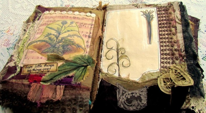 Vintage Fabric Collage Mixed Media Journal. Inside