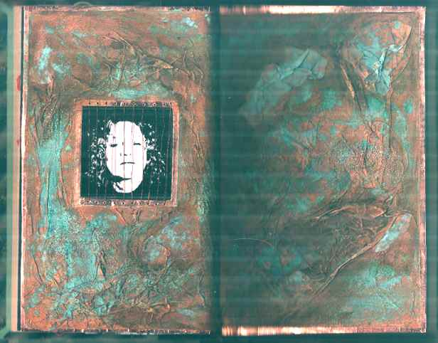 Gillian/ book edges lined with copper glass leading tape-tricky. Tissue pva'd down and given the copper verdigris treatment by Chemtek
