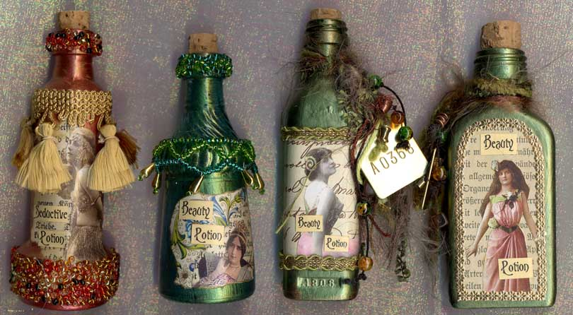Belinda Schneider, Victorian bottles, approx 4 3/4 inches high
