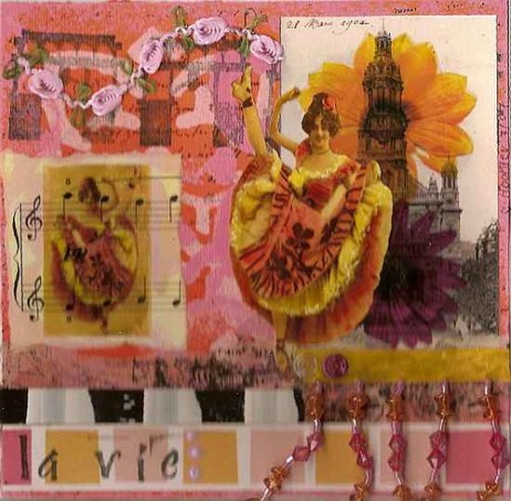 Linda's Pink and Orange Book, altered book page