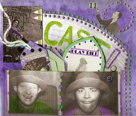 Purple and Green sign in page, altered book