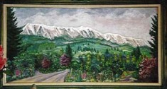 this painting is of the Bridger Mountain range that I look at from our home, I painted it in '94