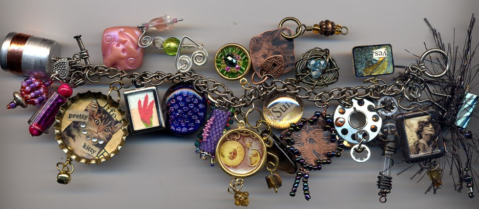 Gillian Allen : charm bracelet made from Amber Dawns International Charm Swap