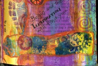 Altered book page detail