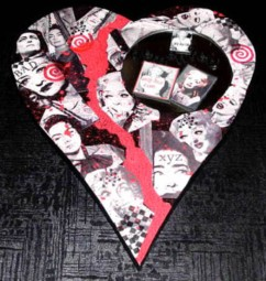 Silver Moon , collaged and painted wooden heart