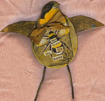 Mixed media Birds:The birds and the bees
