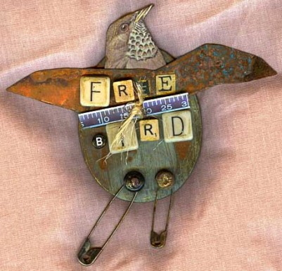 Mixed media Birds:Free Bird 1