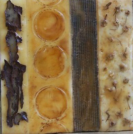 Encaustic, beeswax, mixed media collage. Nature Walk