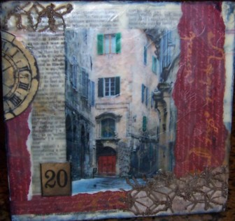 Encaustic, beeswax, mixed media collage. Art on wooden block. The Street