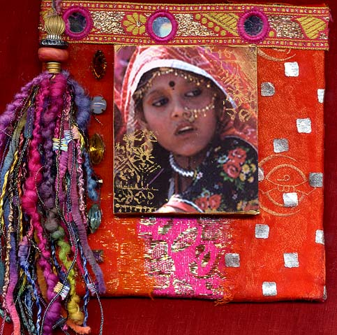 Gillain Allen, Indian Girl with Tassel/ fabric collage and photo panel