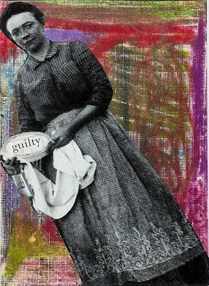 Guilty. Caran D'Ache and Prismacolor pencil scribbles with the guilty pie lady collaged over.