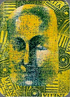 Mona. Stamped background, stamped Mona Lisa face.