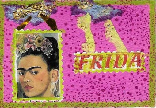 Pink Frida I think this was for a Melissa McCobb Hubbel Arts Erratica swap, but I  can't remember.I use Frida a lot.I'm half Mexican