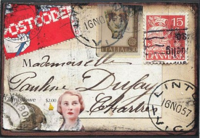 "Mail art: collage using ephemera, stamps, bits & pieces. Hand-stamp ""Linton"" postmark by Scrappindipity. This looks like it has been through the post a few times!! (i like the grunge look lol)"