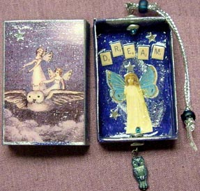 match box shrines from Jewel (aka magpie moon) in Arizona. owl and fairy