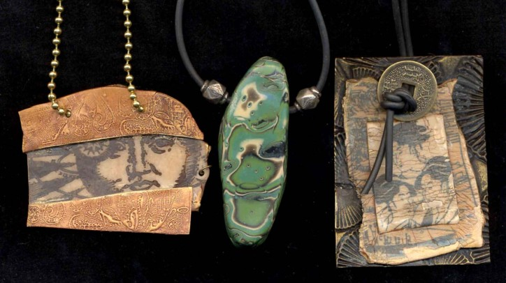 Catherine Withrow, Ancient Moon: Camouflage pendant: Three Beauties: