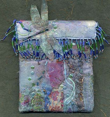 Gillian Allen; Fabric collaged, quilted and beaded bag