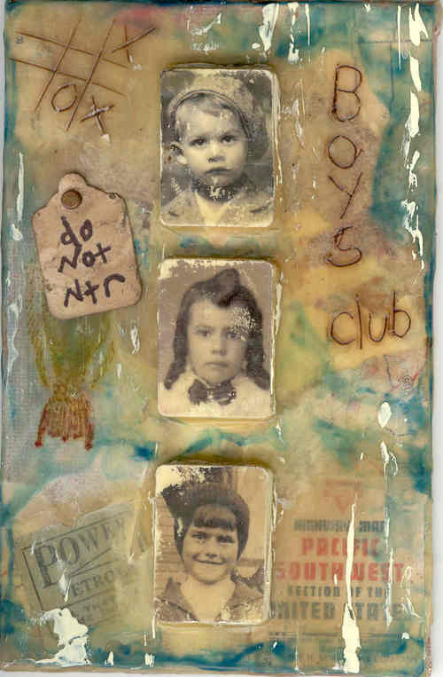 boys club : wax on canvas board, ithe boys=inkjet transfers on mini wood pieces