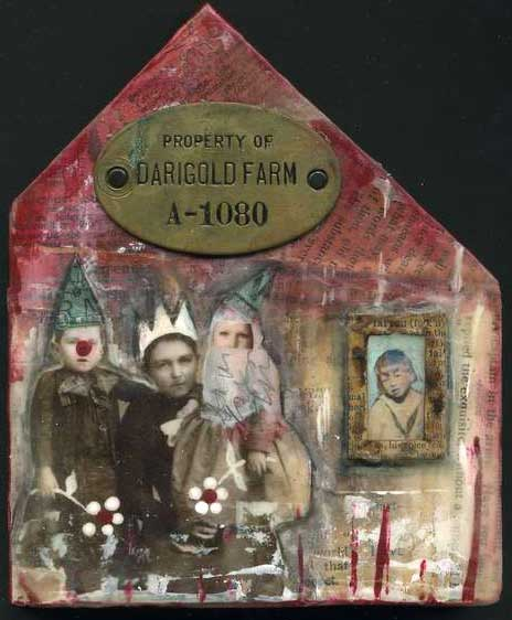 darigold farm : acrylics on collaged wooden piece covered in beeswax