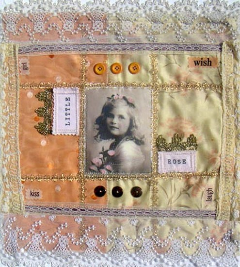 Paula Scinto, CT. Shabby Chic Little Rose Fabric Collage Pillow