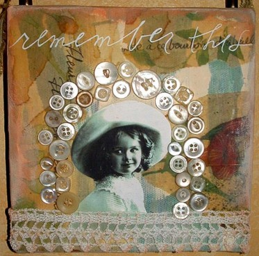 Chrissy Howes 'Remember This'collage on canvas 6x6