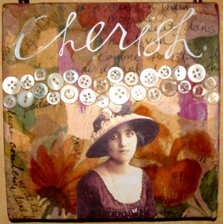 Chrissy Howes 'Cherish' collage on canvas 6x6