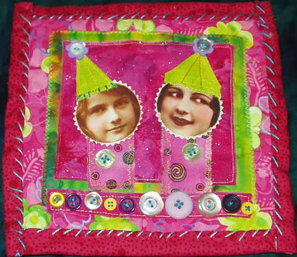 Fabric Quilt. Two girls pink and lime