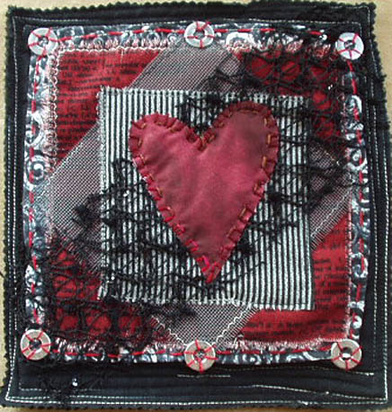 Fabric Art Quilt. Heart Worn