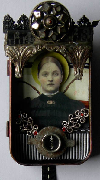 ONE QUARTER ONE HALF Mixed Media Assemblage Art Tin