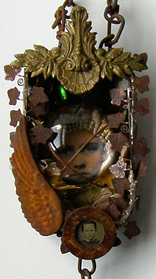 44 Mixed Media Assemblage Altered Art Tin