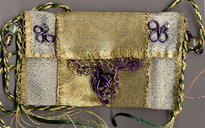Sheilagh Casey, NJ Green, gold, purple bag
