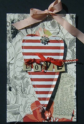 Red striped heart card