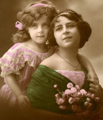 Vintage girls from Elaine, Mother and child