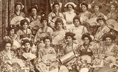 Vintage postcard, actresses-oriental dress-group, sent in by Corinne Stubson,