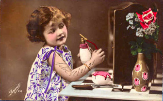 Vintage postcard, girl and perfume bottle, sent in by Susan Frank
