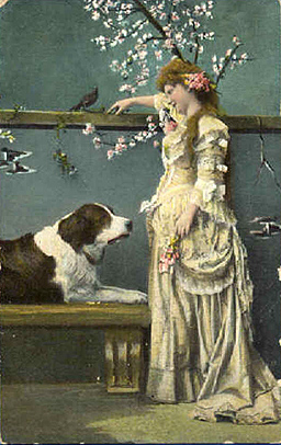 Vintage postcard, lady and a dog, sent in by Susan Frank