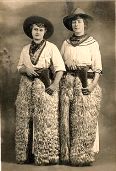 Vintage Photo, gals in wooly chaps