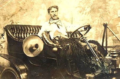 Antique Photo, Cowboy in car