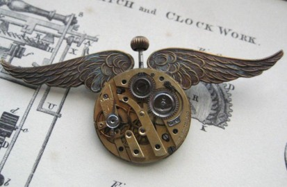 Jewelry Pin Brooch AVIATOR antiqued brass wings