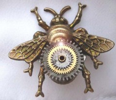 Steampunk Vintage Bumble Bee cuff links Neo victorian pocket watch gears