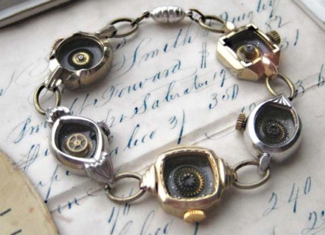 Gold and Silver 5 Vintage Wristwatch Cases bracelet